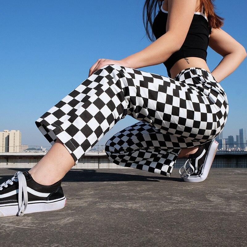 Women Streetwear Plaid Pants 2020 New Harajuku High Waist Straight Loose Sweat Pants Casual Fashion