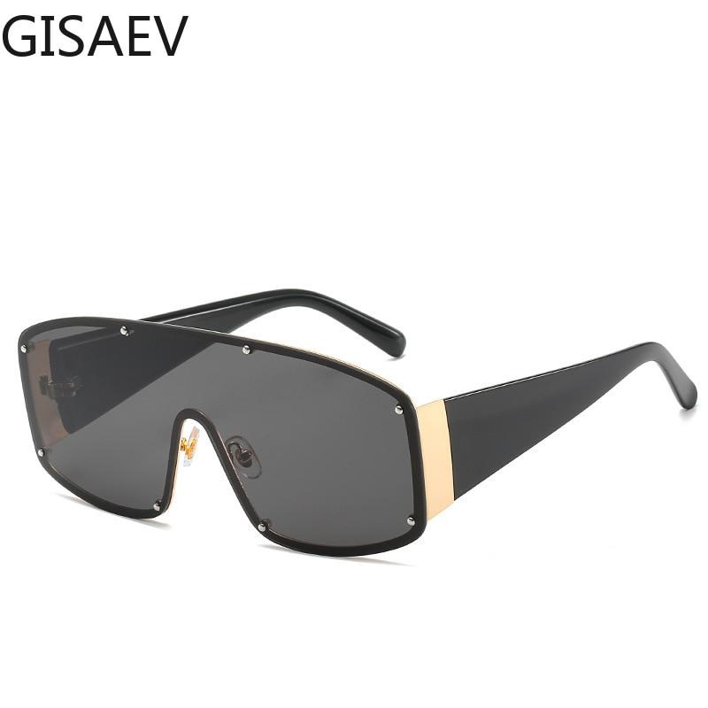 Driving Glasses Women Man Oversized Siamese Frame Sunglasses Large Vintage Metal Rivets Pilot Goggles Fashion Glasses Male UV400