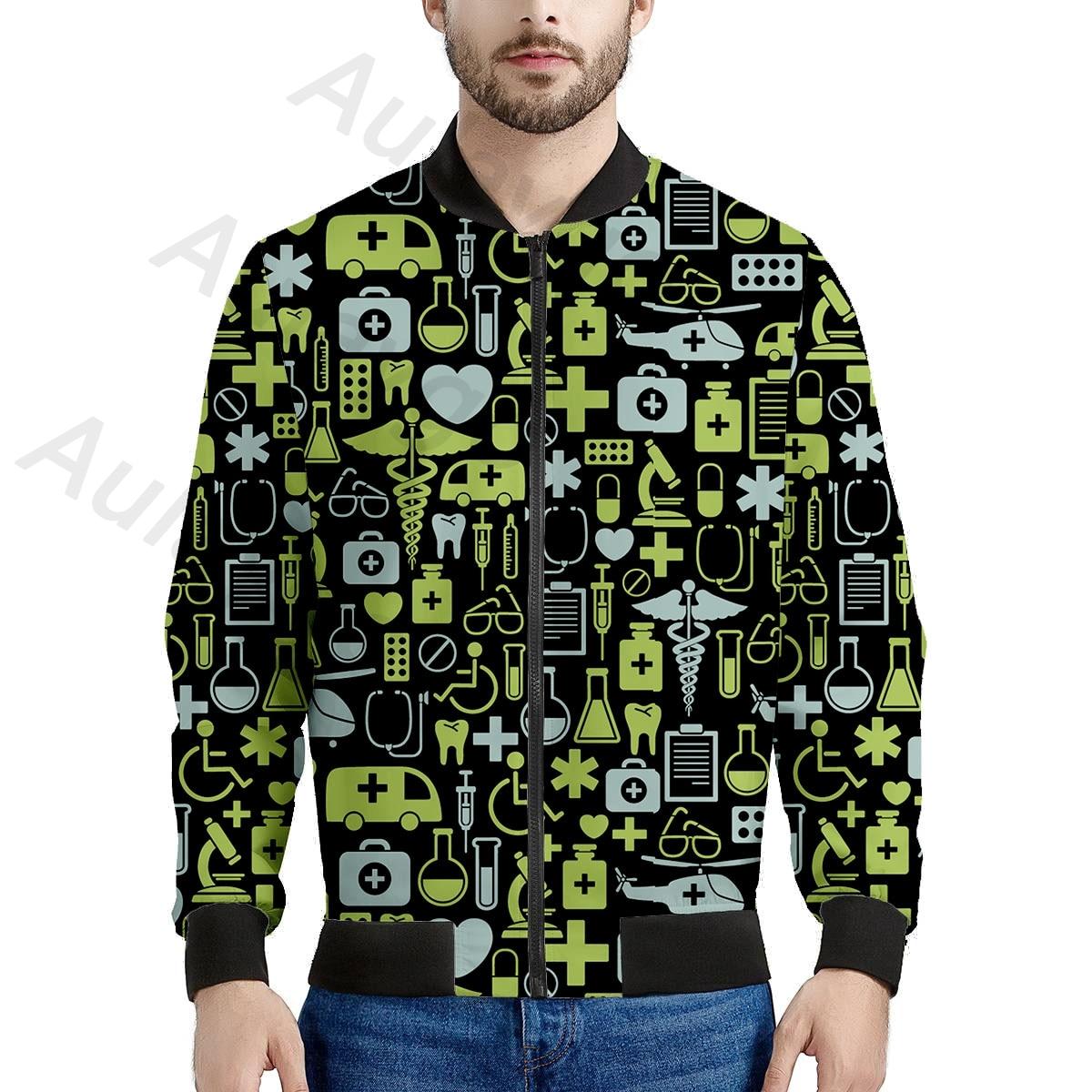 Equipo de Hospital Aulaygo, chaqueta informal estampada para hombre, ropa de abrigo de otoño, cuello de calidad, chaqueta Bomber para hombre, abrigo para hombre, otoño