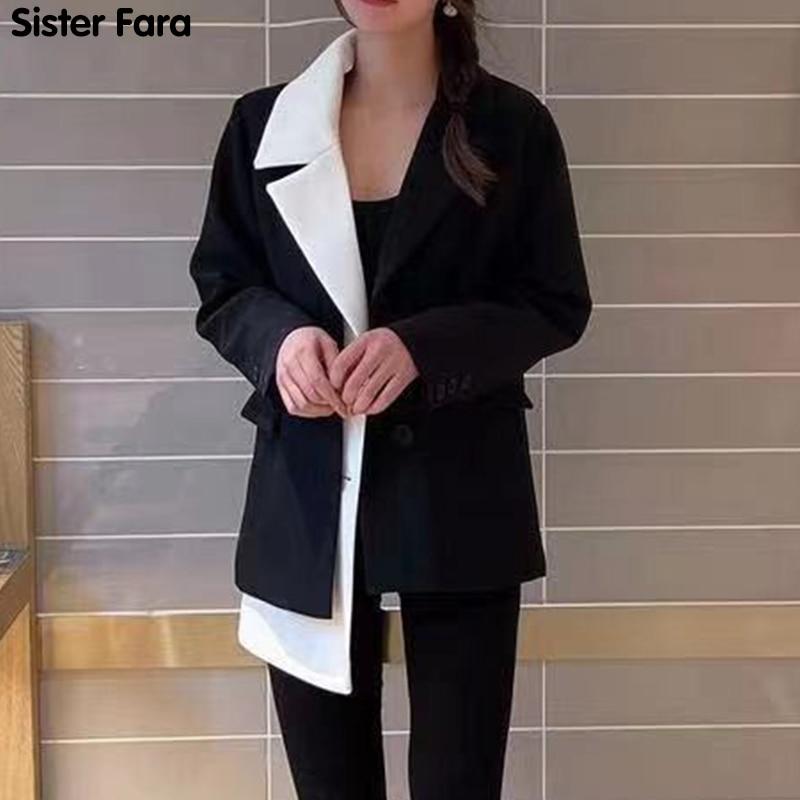 الأخت فارا شيك غير متناظرة تقسم السترة سترة نسائية ربيع 2021 فضفاضة رقيقة سترات عادية بليزر الخريف السيدات بلازير