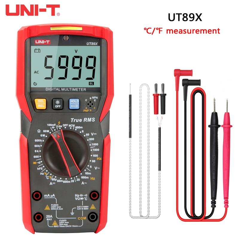 UNI-T رقمي متعدد UT89X UT89XD صحيح RMS 20A الحالي 1000v الفولتميتر المقاومة السعة الترانزستور LED اختبار