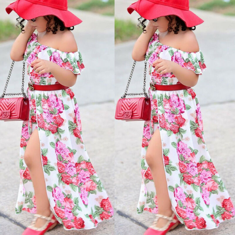 US Summer Kids Baby Girls 1T-6T Party Dress Flower Bridesmaid Princess Pageant Dress