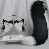 handmade black and white wolf fox ears and tail set lolita kc beast tail hair hoop hairbands headwear cosplay christmas party