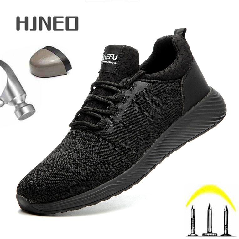 Men's Shoes Work Safety Shoes Lightweight Breathable Ankle Boots Men Sneakers Work Shoe Safety Sneak