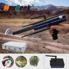 Maxgeek AKS détecteur de métaux en or longue portée gemmes diamant Finder noir avec Six antennes étui de transport en aluminium