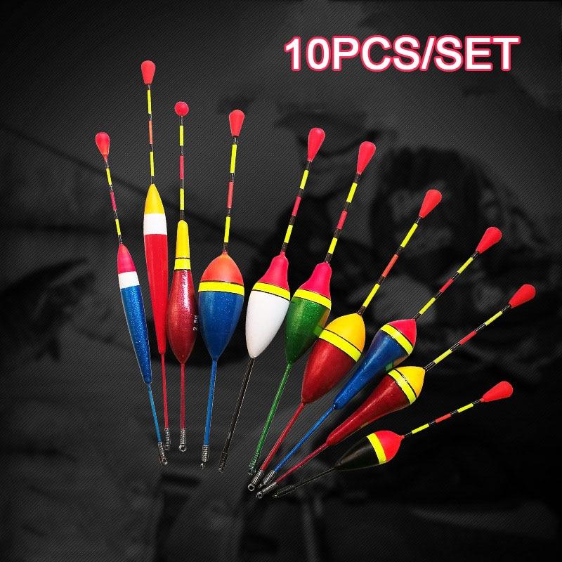 10 pçs/pçs/set conjunto de flutuadores de pesca bóia bobber luz vara flutuam mix tamanho cor flutuador boia para acessórios de pesca