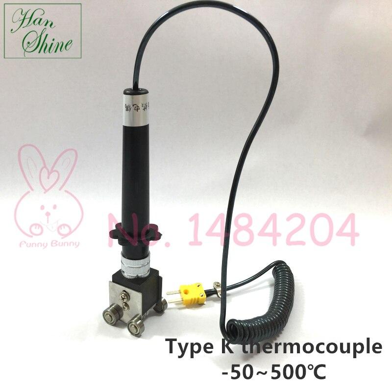 1 stück K Typ Roller Oberfläche Thermoelement-50 ~ 500 Grad Handheld Kontaktieren Temperatur Sensor mit kugellager 4 räder