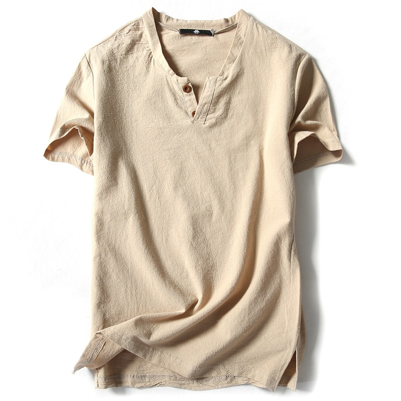 Мужская льняная футболка с коротким рукавом в японском стиле, однотонная Повседневная Удобная дышащая футболка из хлопка и льна в стиле рет...