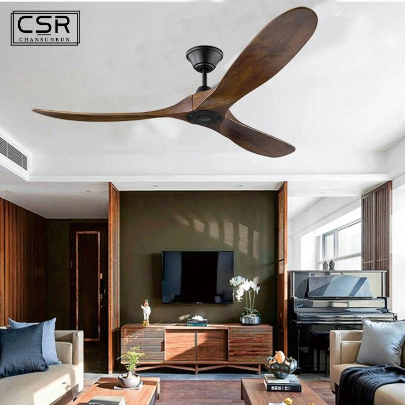 Ventilateur de plafond en bois vintage industriel de 60