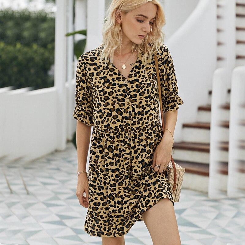 Moda verano Vestido Mujer 2020 leopardo vintage estampado de alta cintura vestido casual elegante botonadura Boho mini vestidos sundress