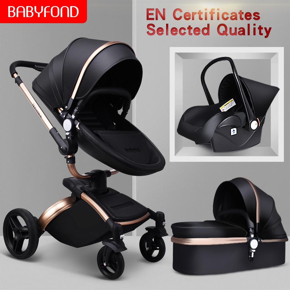 Babyfond Baby Stroller 3 in 1 Luxury Pram For Newborn Bebe Fashion Carriage PU leather EU Free Shipping No Tax send gifts
