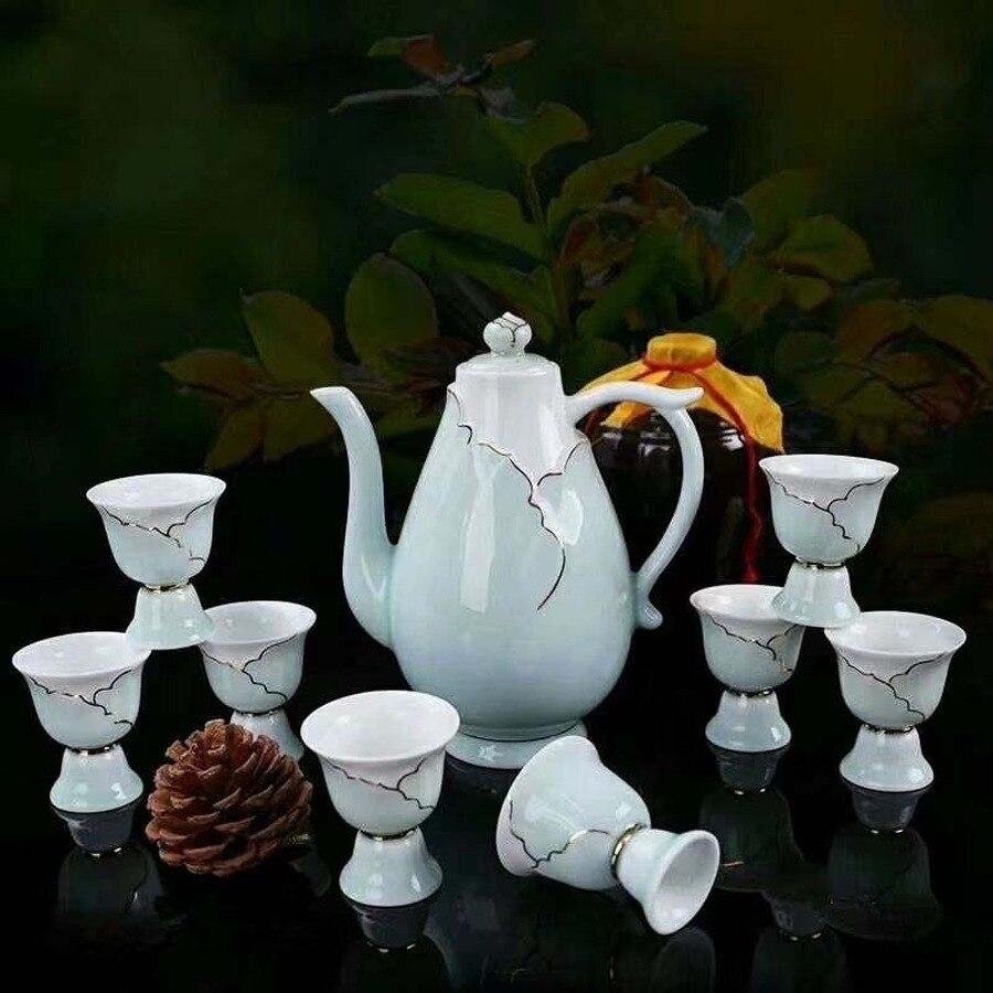 الإبداعية الرجعية الخمور كؤوس مشروبات مجموعة السيراميك كاسات صغيرة مجموعة صينية صندوق بار اكسسوارات Zestaw Barmanski المطبخ برواري EB50BS
