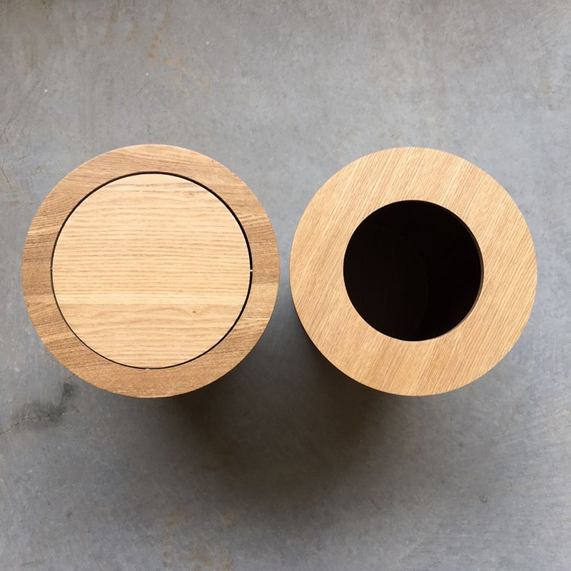 Japanese-style Wooden Trash Can with Lid High-end Home Living Room Creative Simple Office Hotel Large Paper Basket enlarge