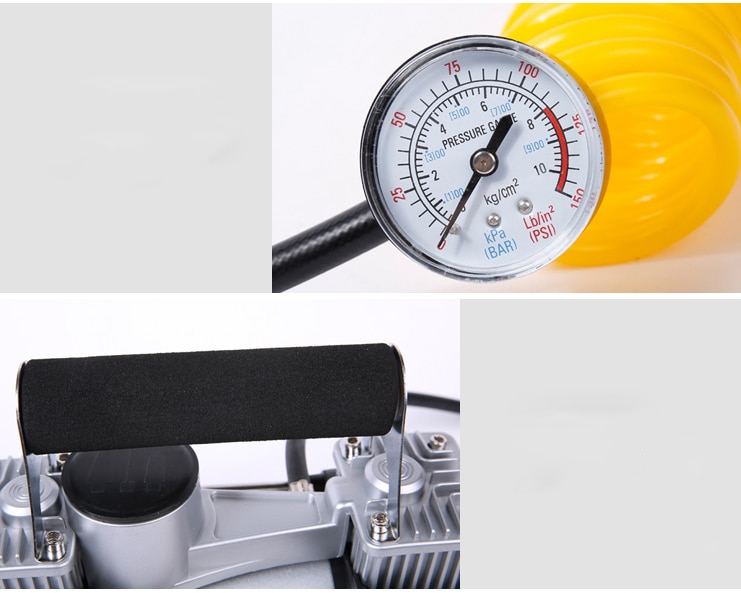 Vehicle mounted inflation pump Car portable automobile tire high-power electric double cylinder pump 12V vehicle enlarge