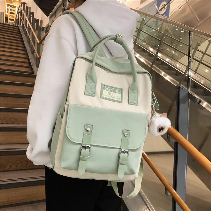 JULYCCINO-حقيبة ظهر نسائية من النايلون ، حقيبة مدرسية ، لون الحلوى ، مقاومة للماء ، للمراهقين ، حقيبة مرقعة