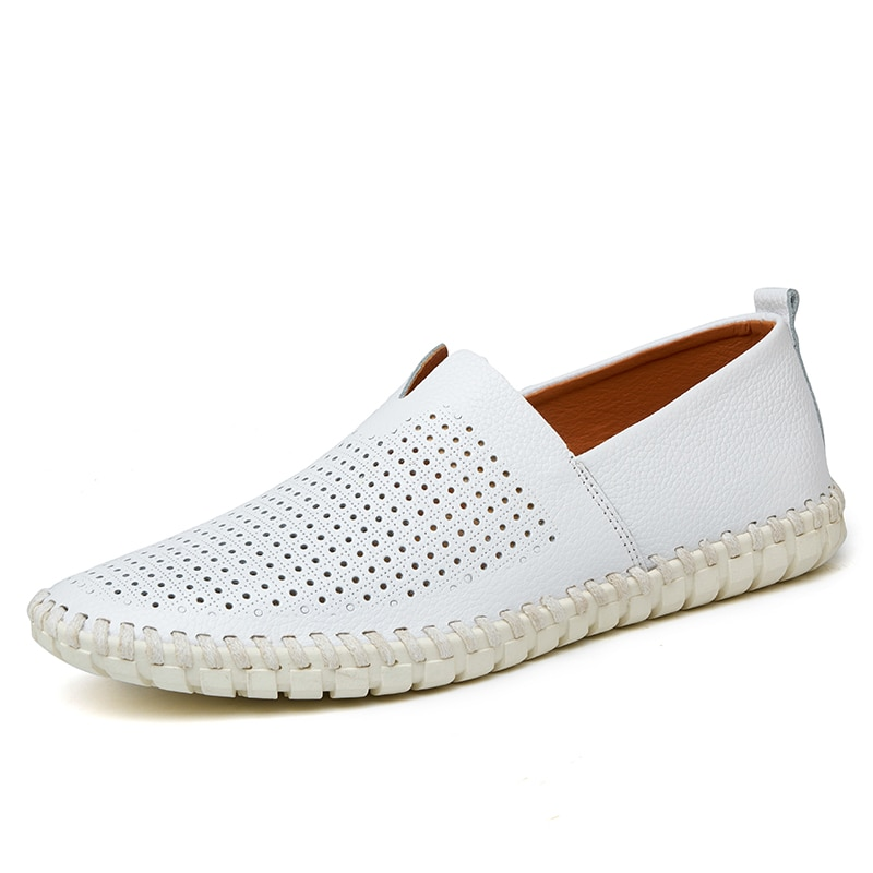 Genuine Leather Men Shoes Summer Luxury Brand 2020 Casual Slip on Formal Loafers Men Moccasins White Male Driving Shoes Big Size