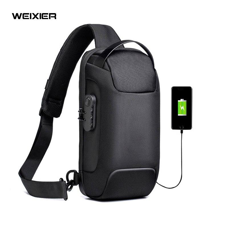 WEIXIER متعددة الوظائف حقيبة كروسبودي للرجال مكافحة سرقة حقائب كتف متنقلة الذكور مقاوم للماء رحلة قصيرة حقيبة صدر للرجال حقيبة الموضة