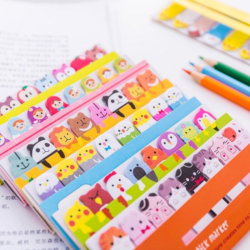 Notas Adhesive Kawaii Bloc de notas marcadores creativos... lindo Índice de animales......