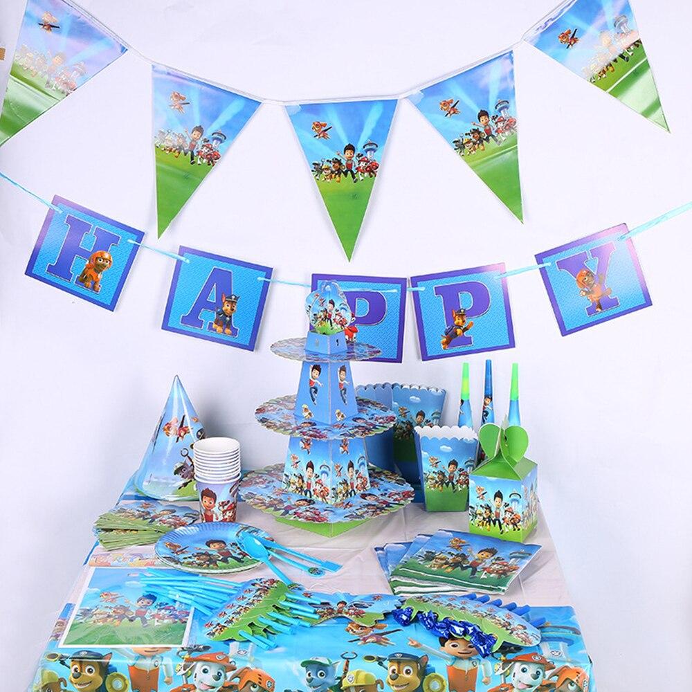 Paw Patrol Мальчики День Рождения украшения Детская сумка на подарок бумажные стаканчики и тарелки нож ложка детский душ Одноразовые столовые принадлежности