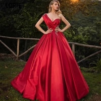 lorie 2020 muslim evening dress one shoulder lace ball gown satin dubai saudi arabic red formal evening gown prom party dresses