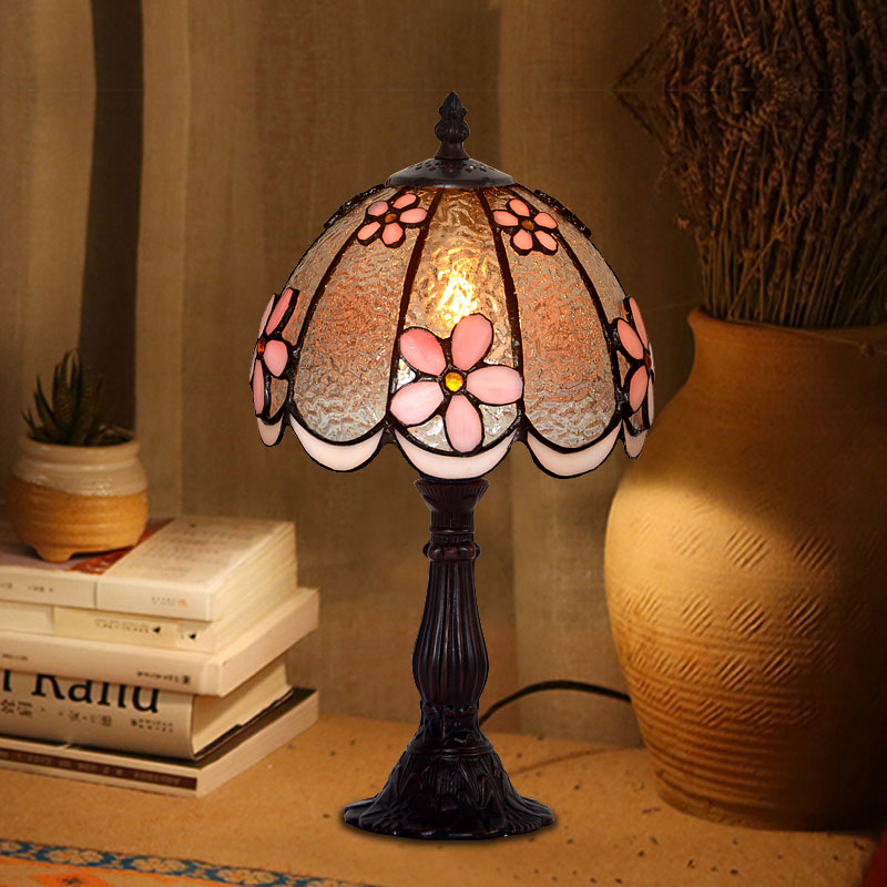 8 inch modern minimalist art Tiffany stereo flower pink warm bedroom bedside table lamp