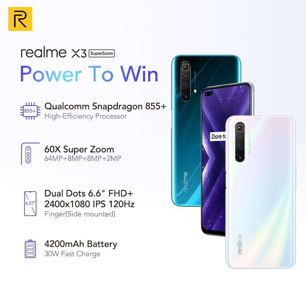 Фото1 - Realme X3 мобильный телефон Глобальная версия суперзум 8 ГБ 128 Snapdragon 855 + 120 Гц Дисплей 64-мегапиксельная четырехъядерная камера UFS 3,0 NFC 30 Вт Зарядно...