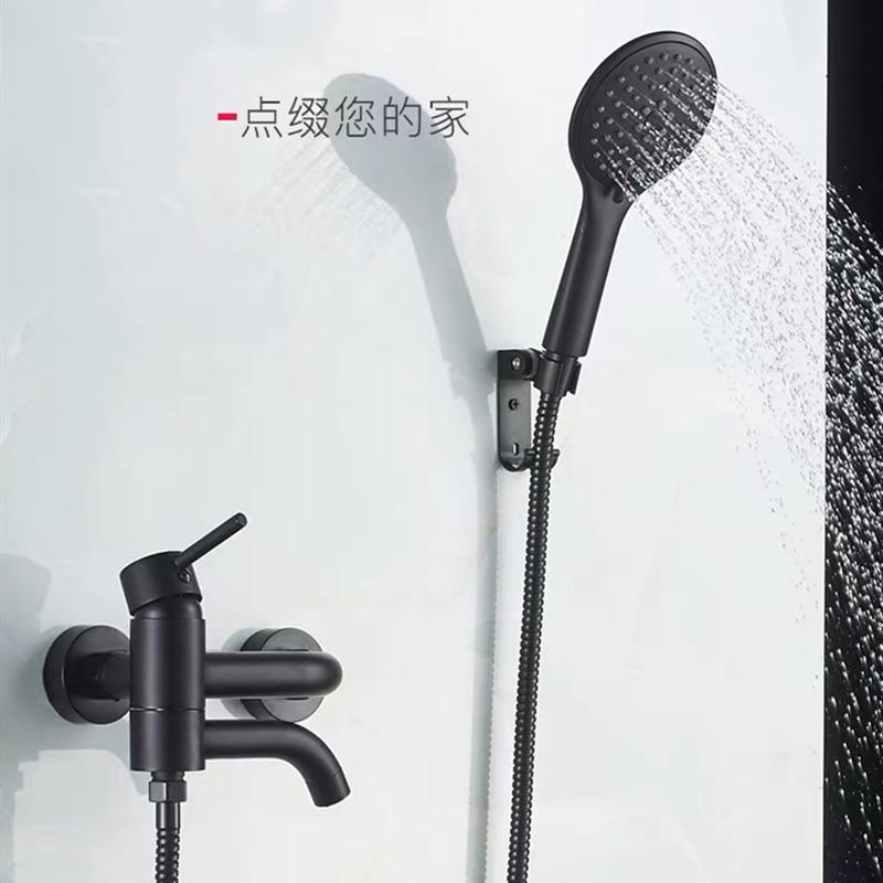 LIUYUE Bathtub Shower Faucet Black/Chrome Brass Wall Mounted Bathroom Shower Faucet ABS Hand Shower Head Sets Bathroom Mixer Tap