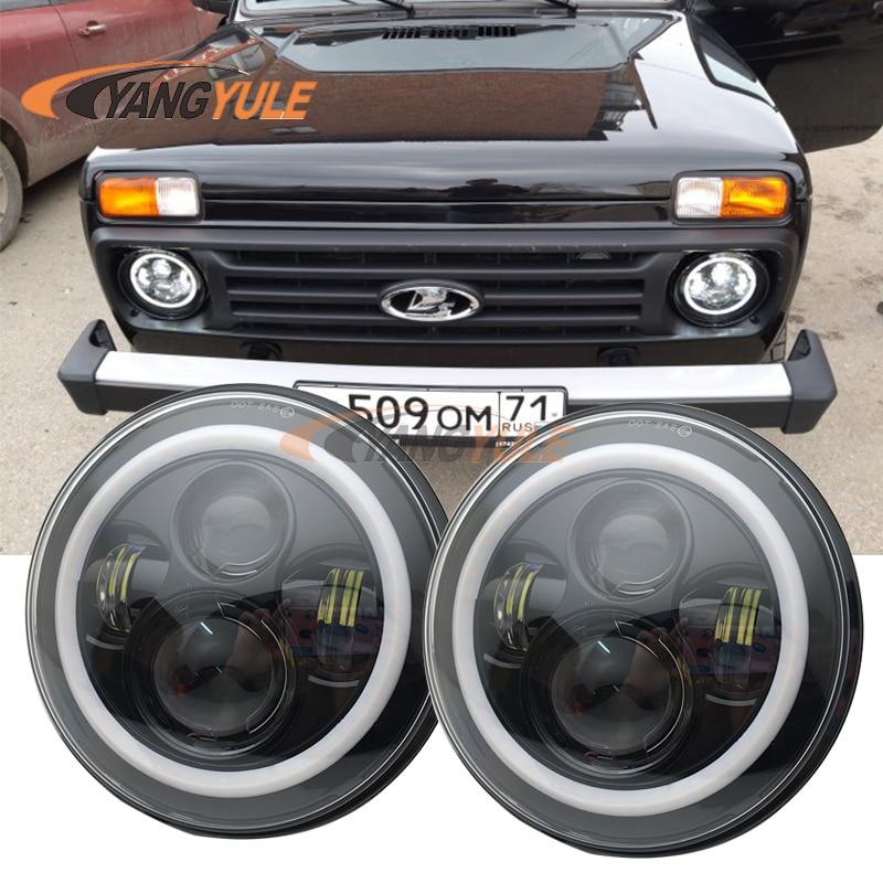 "7 Inch Round LED Headlights Halo Angle Eyes For Jeep CJ Series CJ5 CJ6 CJ7 7"" LED Projector Black Headlight For Camaro 1967-1981"