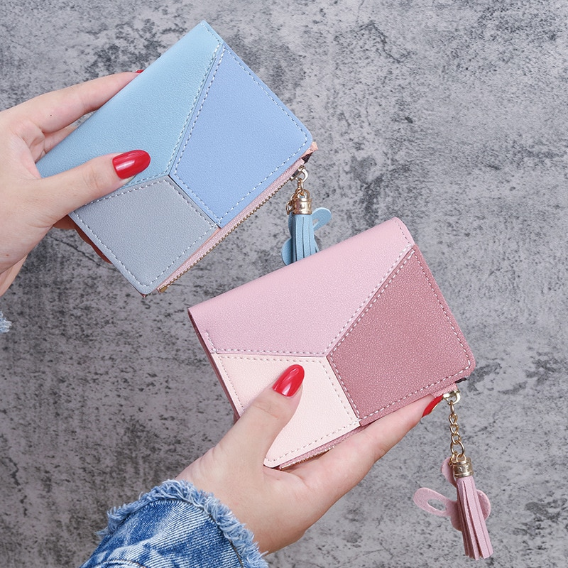 Women Wallets Cute Fashion Splicing Zipper Small Wallet with Secret Compartment Vintage Leather Purse Security Card Holder