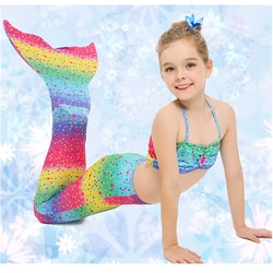 4 estilo Arco Iris Cor niñas natación sirena cola disfraz traje de Cosplay niños baño con/sin Fin