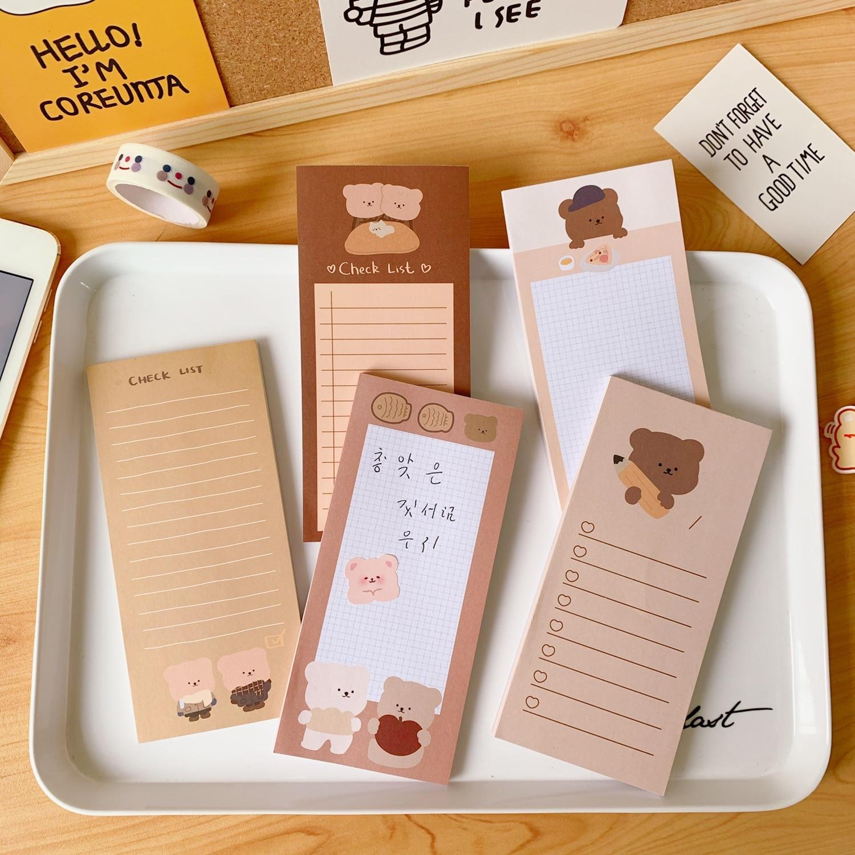 coreia urso comprido pegajoso note de biscoitos fofo urso suportavel mensagem note