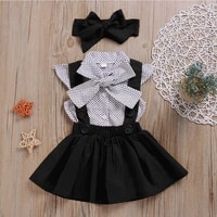 girls spring suits polka dot short sleevedshirt strap skirt 2021 summer new childrens clothing 2pcs boutique clothes ye04202