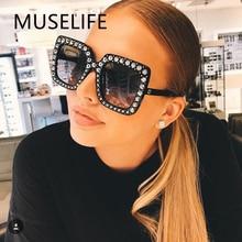 MUSELIFE Shining Diamond Sunglasses Women Brand Design Flash Square Shades Female Mirror Sun Glasses