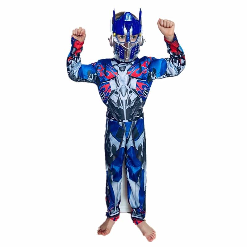 4-12ychild cosplay filme músculo optimus prime trajes meninos menina bumblebee super-herói carnaval trajes de halloween festa