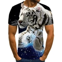 summer 2021 new 3d printed t shirt animal print mens casual jacket o collar hip hop short sleeve size 110 6xl