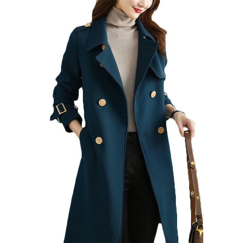 ربيع الخريف سترة واقية المرأة منتصف طول نمط 2021 موضة جديدة مزاجه ضئيلة طويلة معطف واقٍ من المطر معاطف الإناث F468