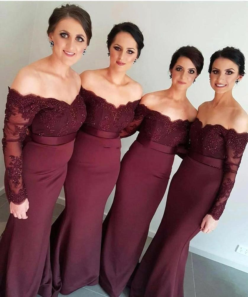 2019 Long Sleeves Bridesmaid Dresses Sexy Backless Off Shoulders Appliques Sequins Long Prom Dress B