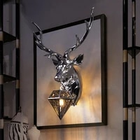 electroplating light luxury deer head wall lamp golden silver living room background wall aisle decorative wall lamp e27 led
