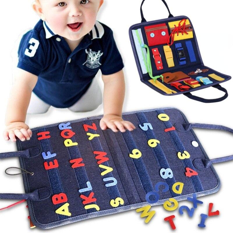 preschool skills Montessori Toys Busy Board Buckle Training Essential Skills Sensory Educational Toys Toddlers Intelligence Preschool Development