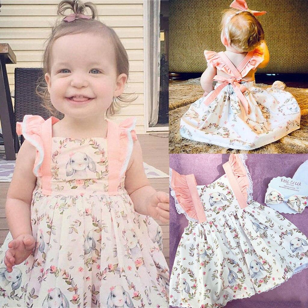 KLV 2020 de moda, vestido de bebé niña niño bebé niñas el día de la Pascua Impresión de caricatura de conejo sin espalda vestido платье для девочки