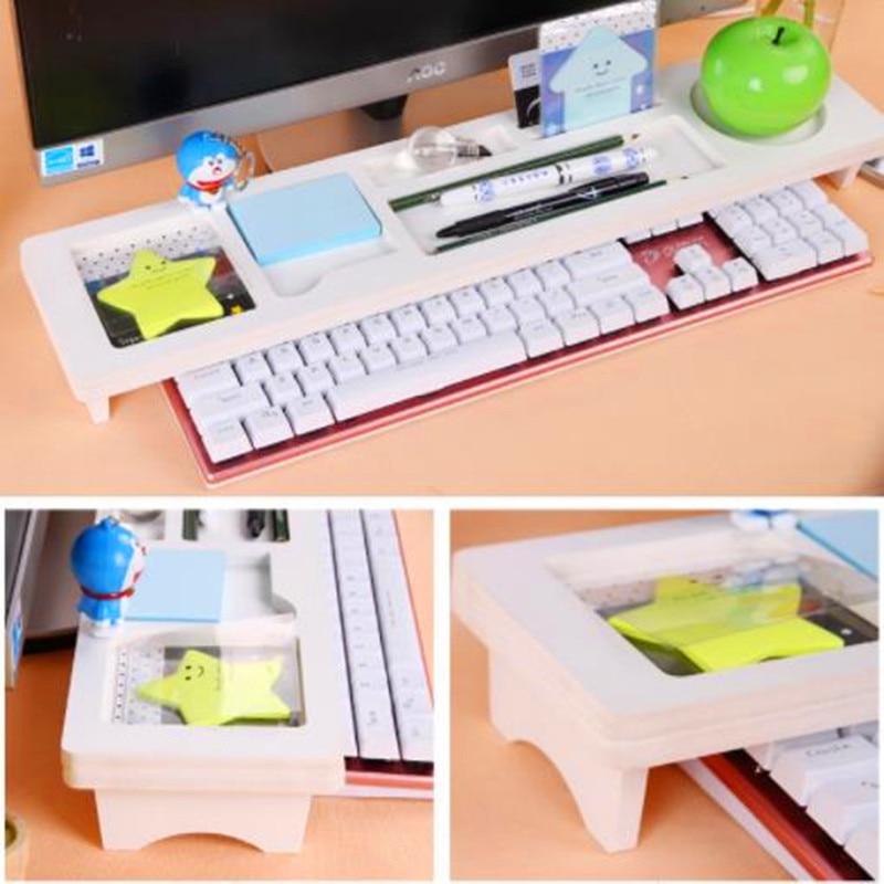Organizador de escritorio de oficina de madera estante de Teclado multifuncional estante de oficina Escritorio de computadora estante de almacenamiento para papelería/teléfono/Cable