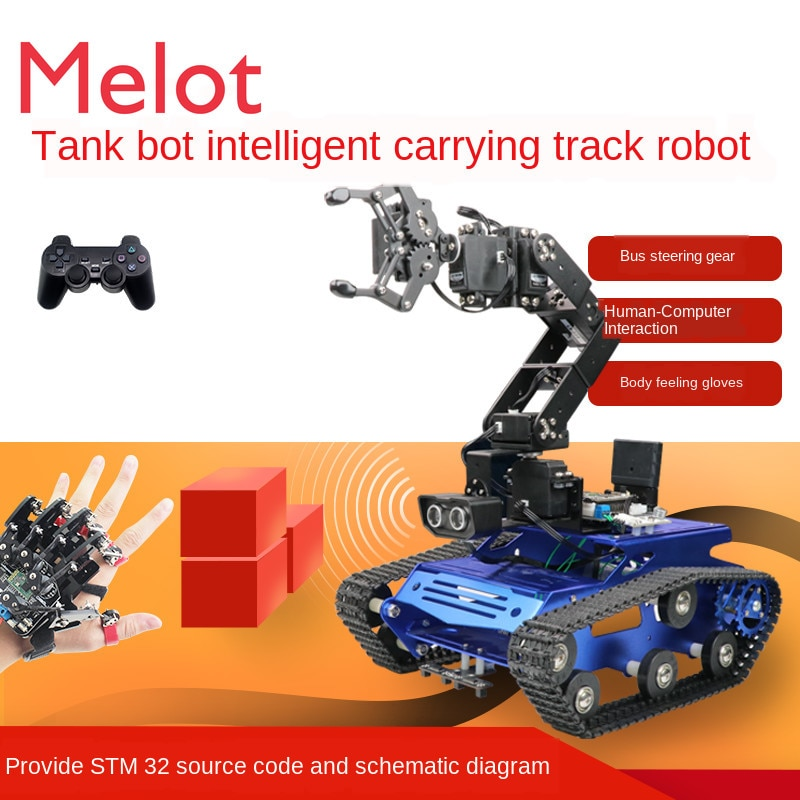 6-Degree-of-Freedom Mechanical Arm Crawler Car Tracking Obstacle Avoidance Robot Intelligent Car STM Programming Car enlarge