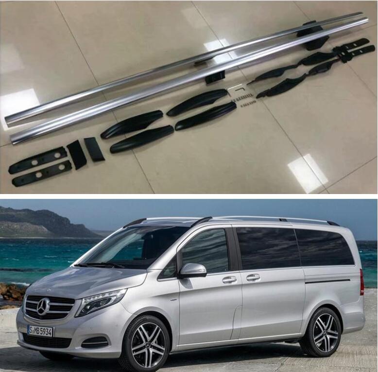 Bagage et barre transversale de Rail de toit supérieur dalliage daluminium pour Mercedes Benz VITO v-class V260 Valente W447 2016-2021 (argent noir)