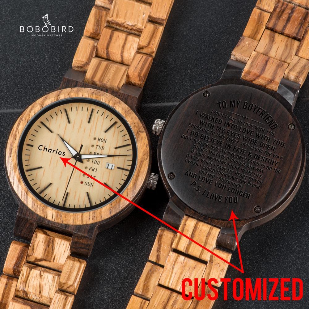 بوبو الطيور مخصصة الرجال الساعات الخشب نقش اسم و النص التسجيل أسبوع عرض