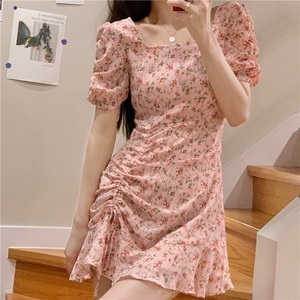 Korean Style Ins Pure Style Drawstring Lace-up Waist-Controlled Slimming Floral Short Sleeve Dress for Women Summer 2021 New