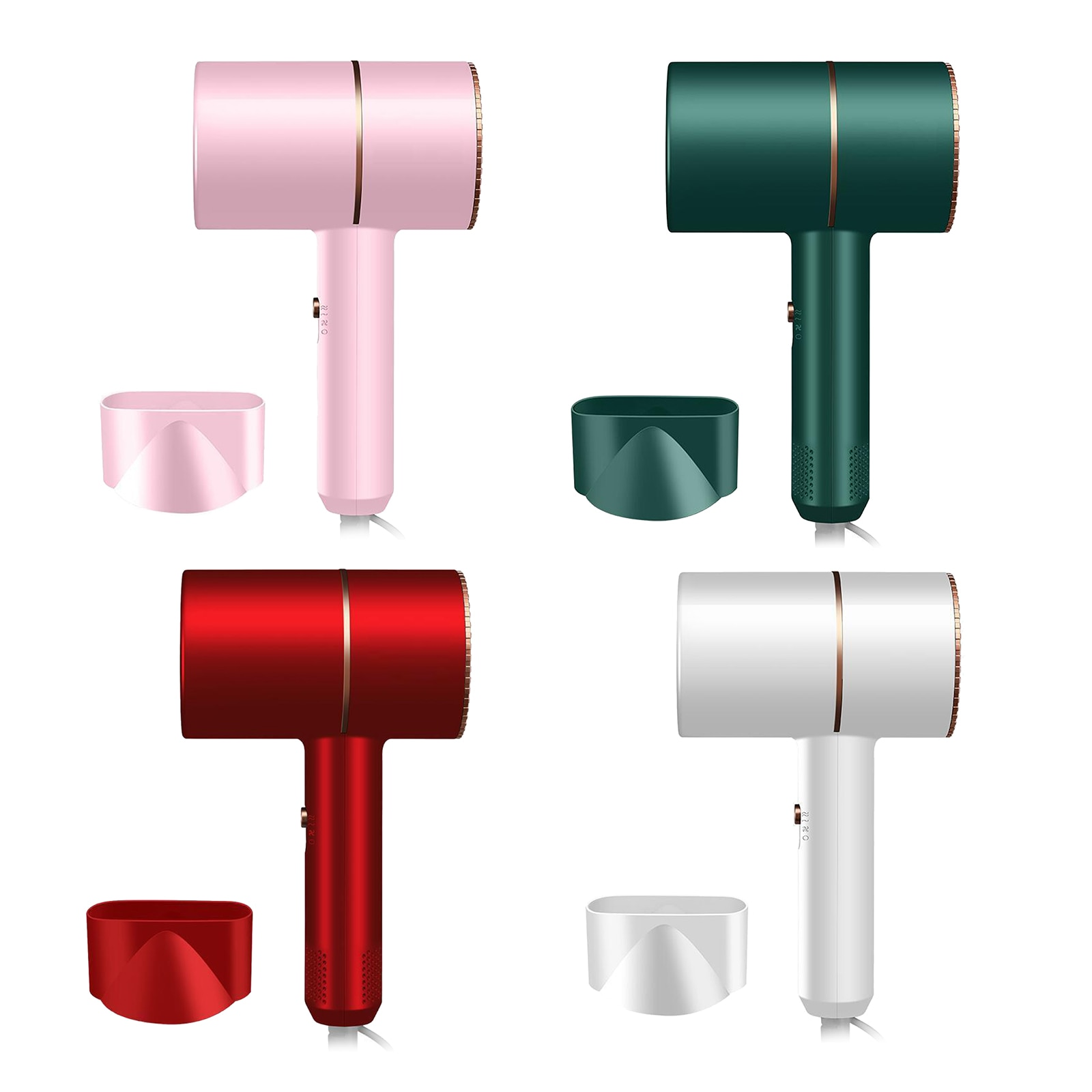 Hammer Hair Dryer Constant Temperature Fast Drying Blow Dryer 3 Gears Hot & Cold Wind for Home Travel US Plug