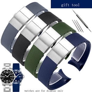 YOPO New style Rubber watchband 21mm black gray blue green wristband with folding buckle for Longines Conquest watch accessories