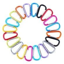 20 pièces d-ring mousqueton de verrouillage porte-clés ressort pince mousqueton crochet en plein air Camping Equipmengt-professionnel plein air Campin