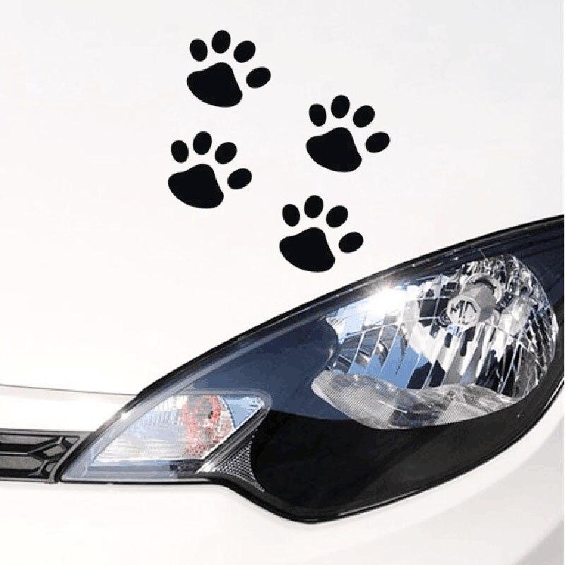 1 Uds etiqueta engomada del coche fresco diseño pata Animal perro gato oso huellas de patas pegatina pegatinas para coche plata oro rojo