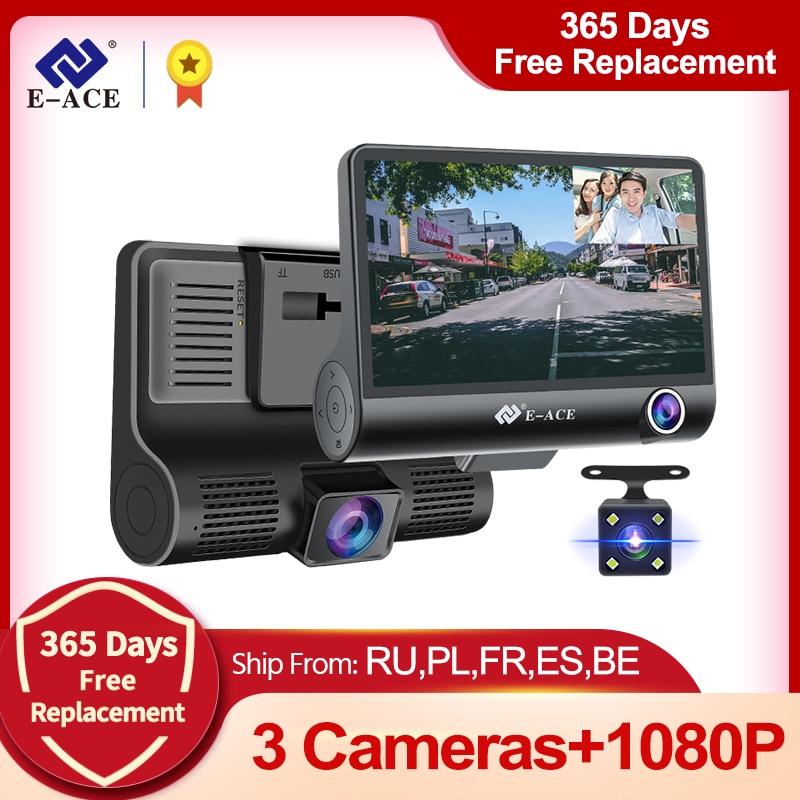 AliExpress - E-ACE Car DVR 3 Cameras Lens 4.0 Inch Dash Camera Dual Lens suppor Rearview Camera Video Recorder Auto Registrator Dvrs Dash Cam